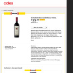 St Hallett Blackwell Shiraz 750mL $15 (Was $53) @ Coles / Liquorland (Select Locations)