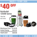 Nutribullet 1200w Series - 12pc Set $99.99 (RRP $139.99) @ Costco (Membership Required)