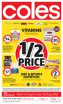 50% off Vitamins, Supplements, Diet & Sports Nutrition @ Coles