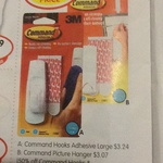 Half Price 3M Command Hooks at IGA (NSW and VIC): Adhesive Large $3.24, Picture Hanger $3.07