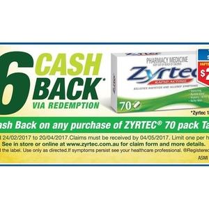Cash zyrtec back chemist warehouse