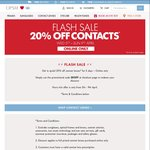 "OPSM 20% off Contacts Online Purchase with Free Delivery Plus ""Cancel Anytime Subscription"" Get 10% off More"