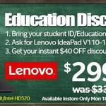 """Lenovo V110-15IAP(80TG00VNAU) $299 (Student/Teacher ID Required) 15.6""""HD Intel N3350 4GB RAM 500GB HDD DVDR/W"""