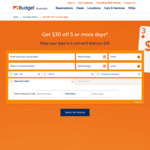 $30 off Car Rental (Group C and above) >5 Days @ Budget