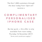 Free Personalised TDE. iPhone Case First 1,000 customers from 12pm Today @ tde. Westfield Pitt St Sydney