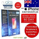 2pcs 2.5d NUGLAS Temper Glass Screen Protector for Apple iPhone X, 8, 7, 6S Plus $5.99 (Usually $6.90-$8.90) @ nikoglobal eBay
