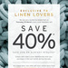 40% off Full Priced Items + 20% off Already Reduced Items (+ Free Delivery) @ Adairs [Linen Lovers Membership Required*]