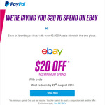 PayPal - eBay $20 off No Minimum Spend
