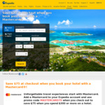 Expedia - US $75 off US $300 Spend When Paying with Mastercard