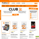 Amino Z Sports Supplements - 10% off Any Order. 15% off Orders >$150. 20% off Orders >$250. Site Wide. Free Delivery >$99.