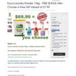 10kg Euca Laundry Powder + 500ml Pre Wash Stain Remover $69.99 Delivered