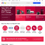20% off 60 Sellers @ eBay (Videopro, Sony, Futu, Sydney Mobiles, KGE, Ted's, Grays + More)