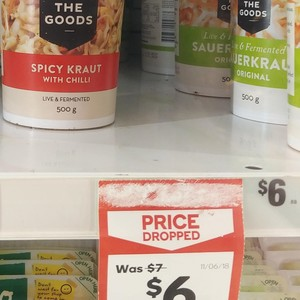 The Goods Sauerkraut Original $6, Spicy Kraut with Chili $6 (Was $7) @ Woolworths