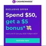 $5 Bonus Cashback with Minimum $50 Spend @ Cashrewards (Activation Required, Excludes Woolies GCs)