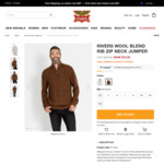 Wool Blend Zip Neck Jumper $15 (Was $59.99) + $8.80 Delivery ($0 C&C/ $80 Spend) @ Rivers