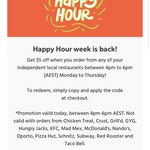 $5 off Your Order @ Menulog (4pm-6pm AEST Only)