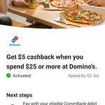CommBank Rewards - $5 Cashback on $25+ Spend @ Domino's