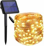 20m Solar Powered String Lights Outdoor Warm White $14.95 + Delivery ($0 Prime/ $39 Spend) @ Findyouled Amazon AU