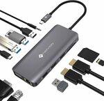 NOVOO 12 in 1 USB C Hub Triple Display Docking Station 2x HDMI $72.24 Delivered @ Wellmade Brands AU via Amazon AU