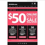 1 Day Myer Online Fashion Sale - Selected Ladies' Items $50 and under