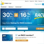 30% off Electricity & 16% off Gas - Simply Energy [VIC RACV Members Only]