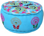 35% off Clearance Sale on Round Pouf Turquoise Ottoman in Cotton @ $304.84 + Free Shipping - Carpet & Textile