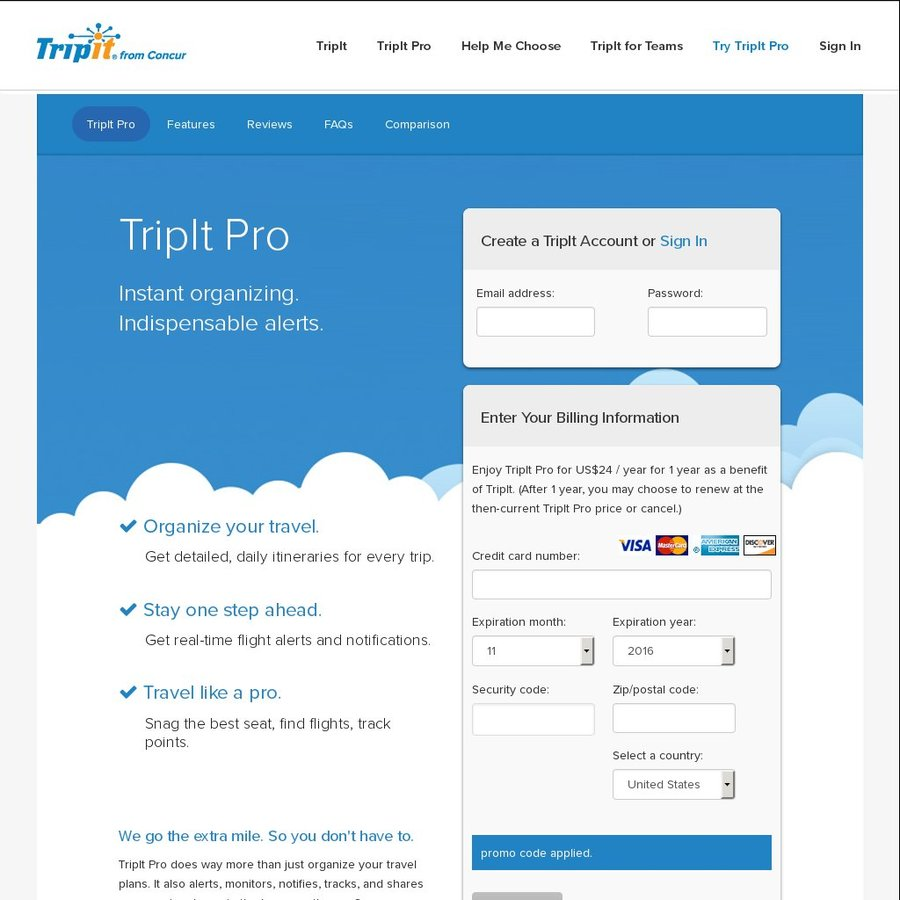 50% off Tripit Pro $24USD [~$32AUD] for One Year - OzBargain