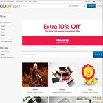 10% off @ Myer eBay (Automatically Calculated at Checkout)