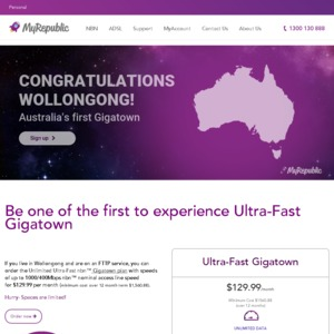 Ultra Fast NBN for FTTP from MyRepublic 1000mbps/400mbps for