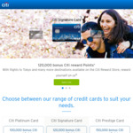 Citibank Platinum Rewards Credit Card 100k Bonus Points $49 Annual Fee First Year