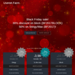 Usenet.farm Black Friday 30% off 500GB Block (~AU $16.22) and 50% off Plans (Starting at ~ $3.85AUD)