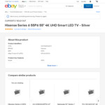 Hisense 55P6 Series 6 UHD TV $876 + $55 Delivery ($0 with Plus) @ Videopro eBay