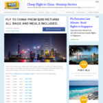 Chongqing, China from Melbourne $290 Return (Tianjin Airlines)