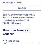 $15 off Sitewide ($100 Min Spend) @ eBay