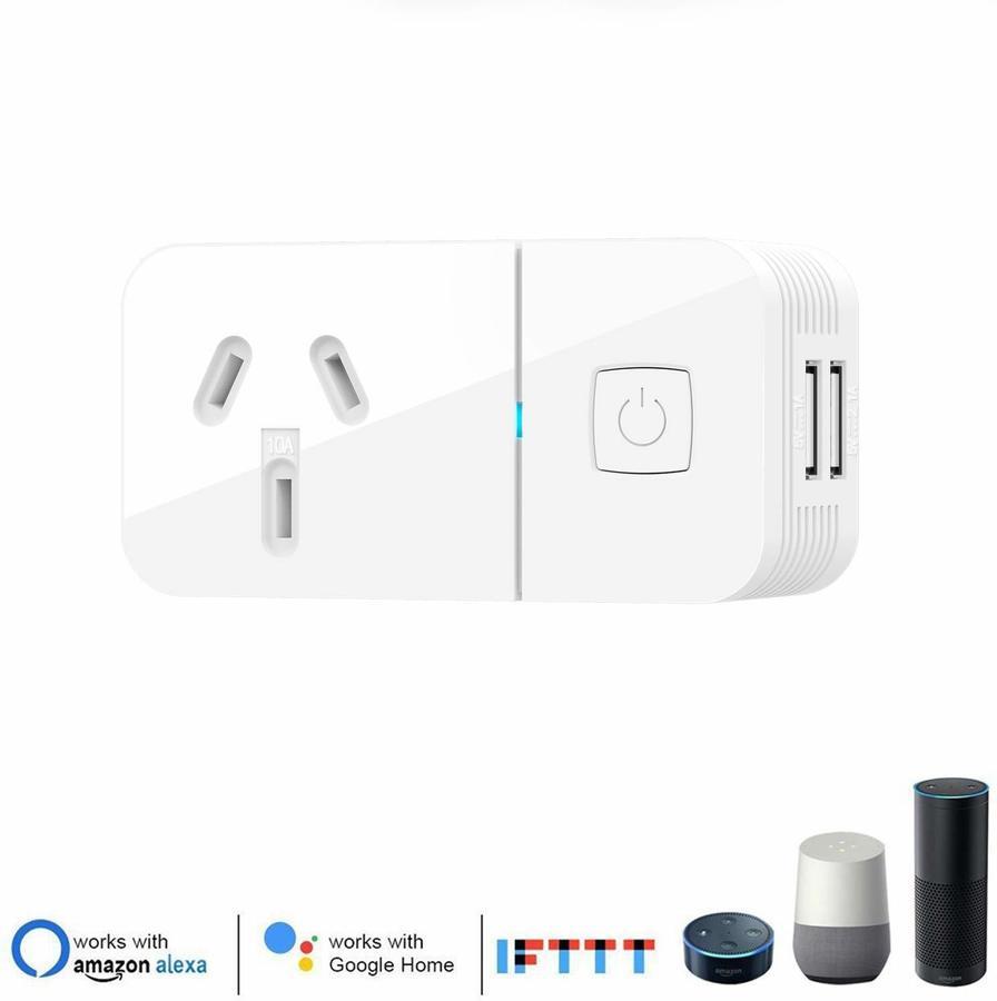 Wi-Fi Smart Socket Plug 2x USB Alexa & Google Home Compatible $18 19