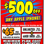 $500 off Any Apple iPhone with Telstra 60GB $65pm Plan (12 Months, Min Cost $780) Port-in Customers @ JB Hi-Fi (in-Store)