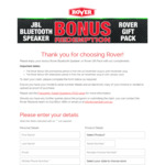 Free Rover (Mowers) Gift Pack /w Product Registration @ Rover