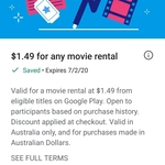 $1.49 Movie Rental (on Eligible titles) @ Google Play Store