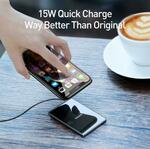 Baseus 15W Qi Wireless Charger Ultra Slim Fast Wireless Charging Pad  AU$21.85 Delivered @ eSkybird