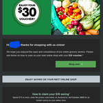 Save $30 with Spend $70 for Pickup or Delivery Orders @ Woolworths Online