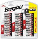 Energizer AA Batteries, MAX Alkaline, 30 Pack $12.50 ($11.25 S&S) + Delivery ($0 with Prime/ $39 Spend) @ Amazon AU