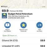 [NSW] P95 69.9c/L, P98 79.9c/L, E10 59.9c/L @ Budget Petrol, Petersham NSW 2049