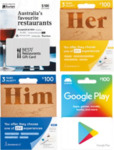 10% off $100 Google Play, Best Restaurants Gift Cards or BananaLab Gift Boxes - $90 @ Woolworths
