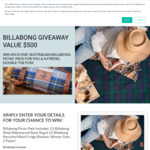 Win a Billabong Picnic Pack For You and a Friend Worth $500 from Creswick Wool