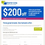 $200 off When You Purchase/Install Any Ducted or Split System Air Conditioner with AGL (QLD, NSW, VIC, SA)