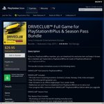 PS4 DRIVECLUB Full Game for PlayStation Plus & Season Pass Bundle $29.95
