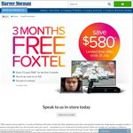 3 Months FREE Foxtel @ Harvey Norman - In Store Only