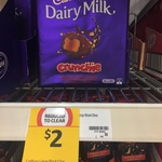 Cadbury Dairy Milk Crunchie and Marvellous Creations 350g Blocks $2 down from $6.30 @ Coles Nationwide