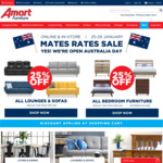 Save 25% on Lounges, Sofa and Bedroom Furniture Using Mates Rate Sale @ Amart Furniture