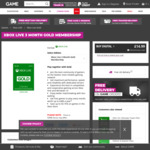 Xbox Live Gold Pass 3 Months for £14.99 (~A $26.55) Plus Bonus Free £10 (~A $17.71) Gift Card @ Game UK